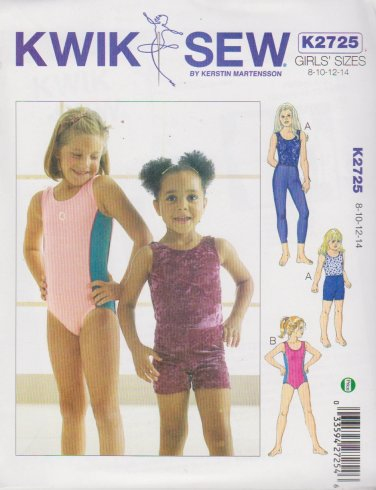 Kwik Sew Sewing Pattern 2725 Girls Size 8-14 Leotards Long Leggings Shorts Dance Gymnastics
