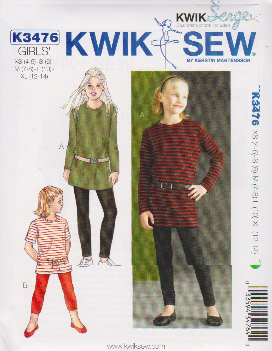 Kwik Sew Sewing Pattern 3476 Girls Size 4-14 Knit T-Shirt Tunics Top Leggings Two Lengths