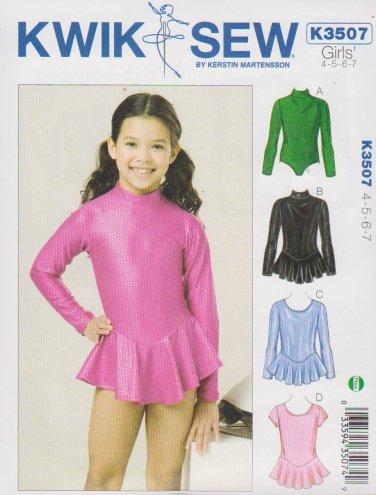 Kwik Sew Sewing Pattern 3507 Girls Size 4-7 Leotards Optional Skirt Dance Gymnastics Skating