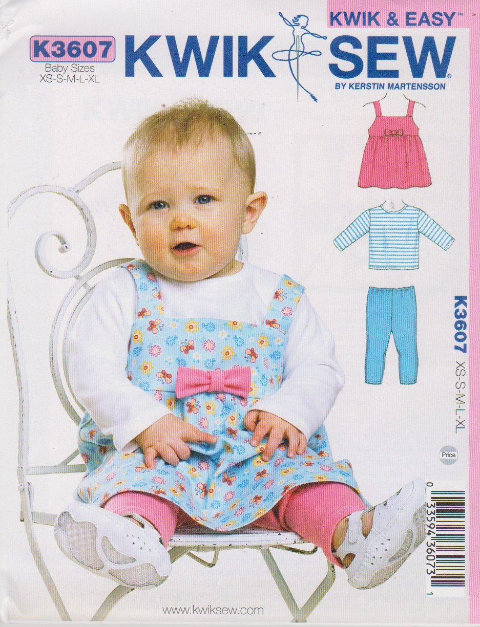 Kwik Sew Sewing Pattern 3607 Baby Size XS-XL Knit Jumper T-Shirt Top Leggings