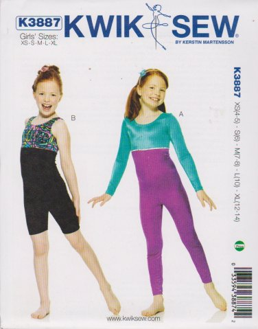 Kwik Sew Sewing Pattern 3887 Girls Size 4-14 Unitard Dance Skate Gymnastics