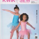 Kwik Sew Sewing Pattern 4108 Girls Size 3-10 Knit Leotard Attached Tutus Skirt