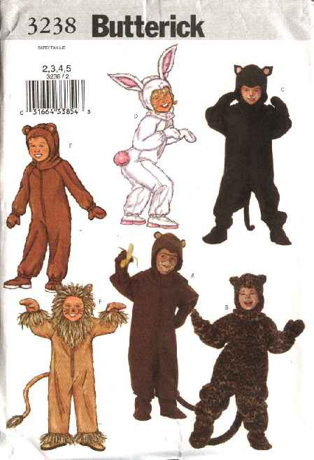 Butterick Sewing Pattern 3238 Boys Girls Size 6-8 Jumpsuit Costumes Bear Bunny Monkey Lion Cat