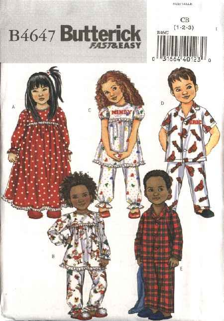 Butterick Sewing Pattern 4647 Boys Girls Toddler Size 4-5-6 Easy Nightgown Pajamas Top Pants
