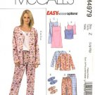 McCall's Sewing Pattern 4979 Misses Size 16-22 Easy Nightgown Pajama Pants Tops Camisole Slippers