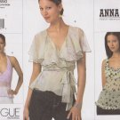 Vogue Sewing Pattern 2850 Misses Size 6-8-10 Anna Sui 3 Different Summer Blouses Halter Tops