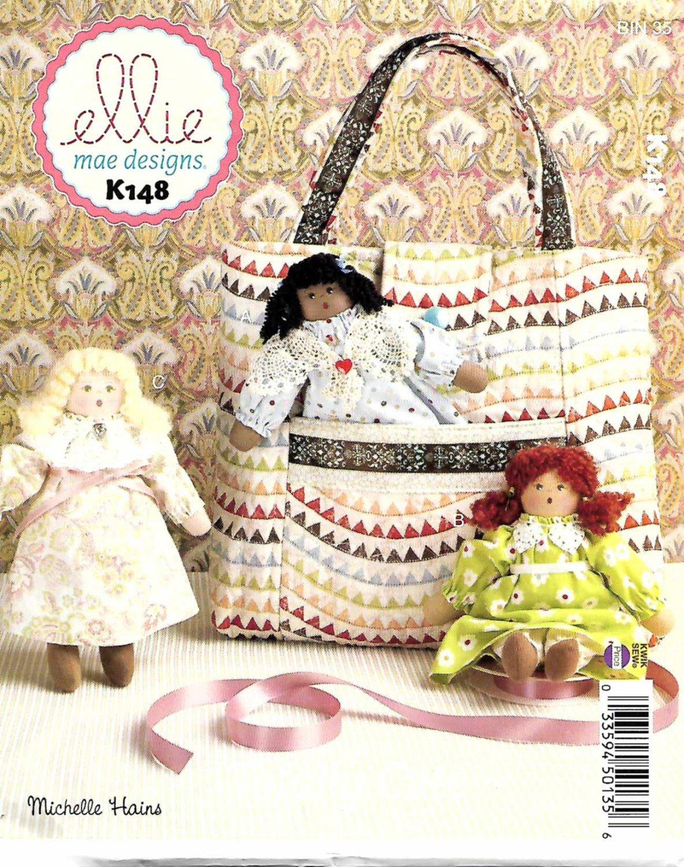Kwik Sew Sewing Pattern K148 0148 Ellie Mae Rag Stuffed Dolls Totebag