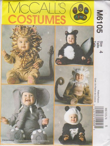 McCall's Sewing Pattern 6105 8938 Toddlers Size 4 Skunk Lion Monkey Elephant Panda Costume