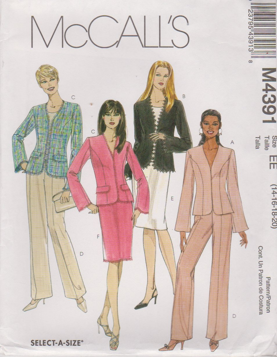 McCall's Sewing Pattern 4391 Misses Size 14-20 Lined Jacket Pants Straight Skirt Suit Pantsuit