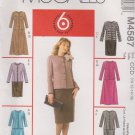 McCall's Sewing Pattern 4587 Miss Size 10-16 Easy Unlined Button Front Jacket Straight Flare Skirt