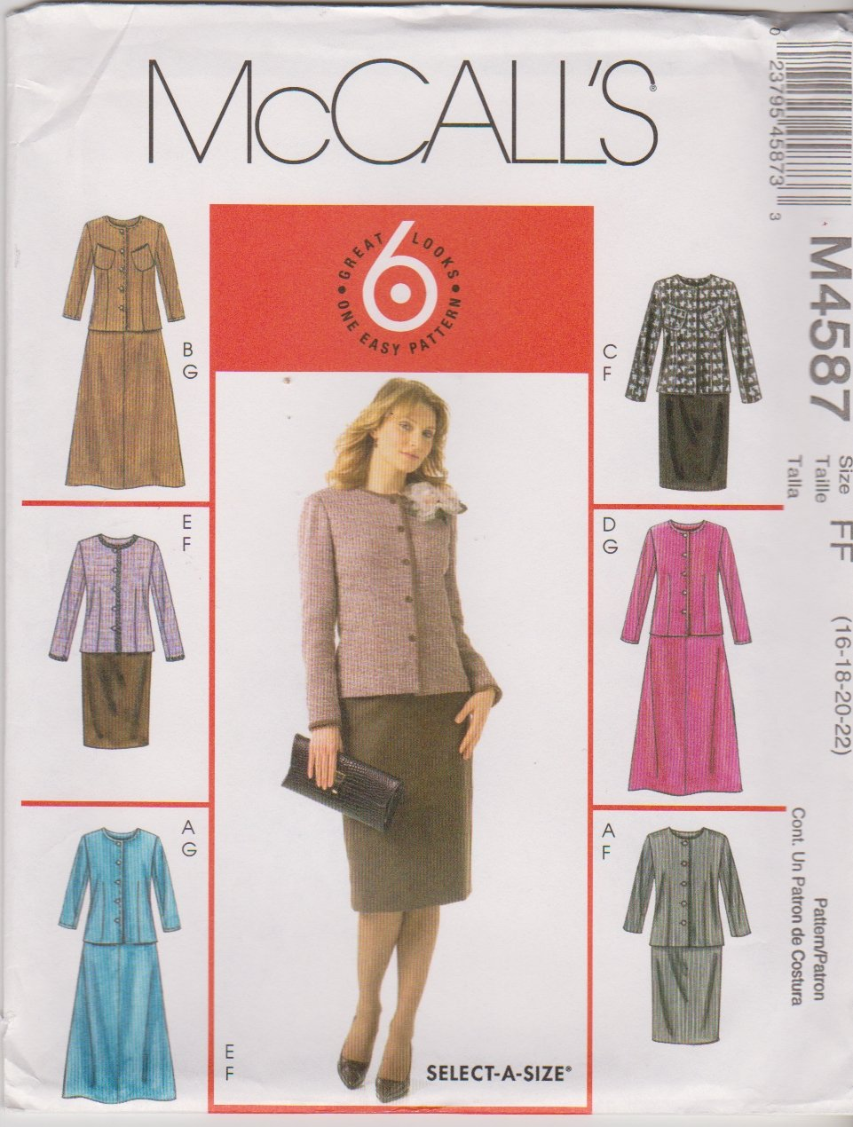 McCall�s Sewing Pattern 4587 Miss Size 16-22 Easy Unlined Button Front Jacket Straight Flare Skirt