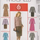 McCall's Sewing Pattern 4587 Miss Size 16-22 Easy Unlined Button Front Jacket Straight Flare Skirt
