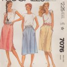 McCall's Sewing Pattern 7076 Misses Size 10 Classic Softly Gathered Skirts Side Front Button