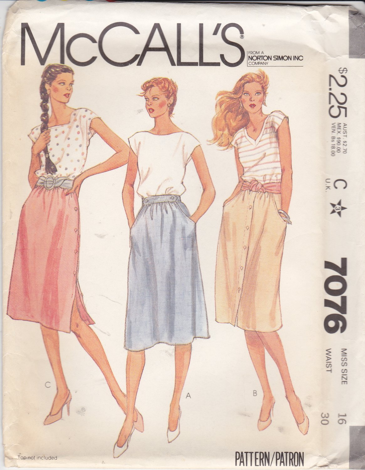 McCall�s Sewing Pattern 7076 Misses Size 16 Classic Softly Gathered Skirts Side Front Button