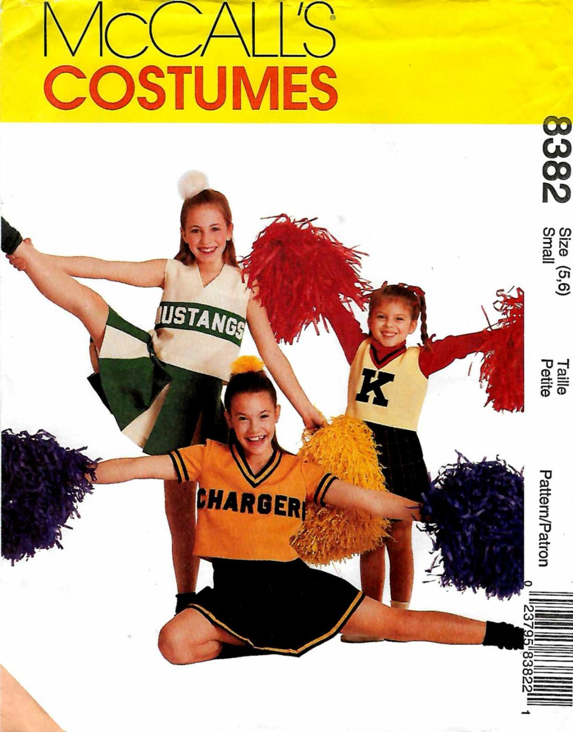 McCall's Sewing Pattern 8382 Girls Size 5-6 Cheerleaders Outfits Pleated Skirt Tops Panties