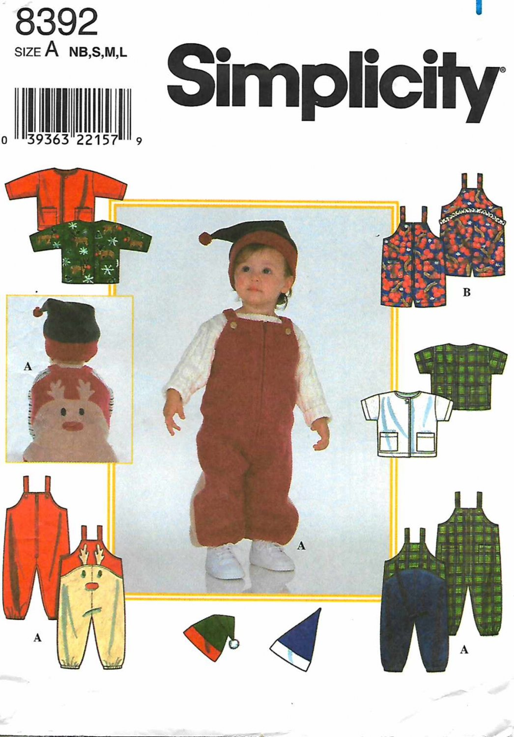 Simplicity Sewing Pattern 8392 Babies Sizes NB-L Romper Jacket Knit Hat Reindeer Overalls
