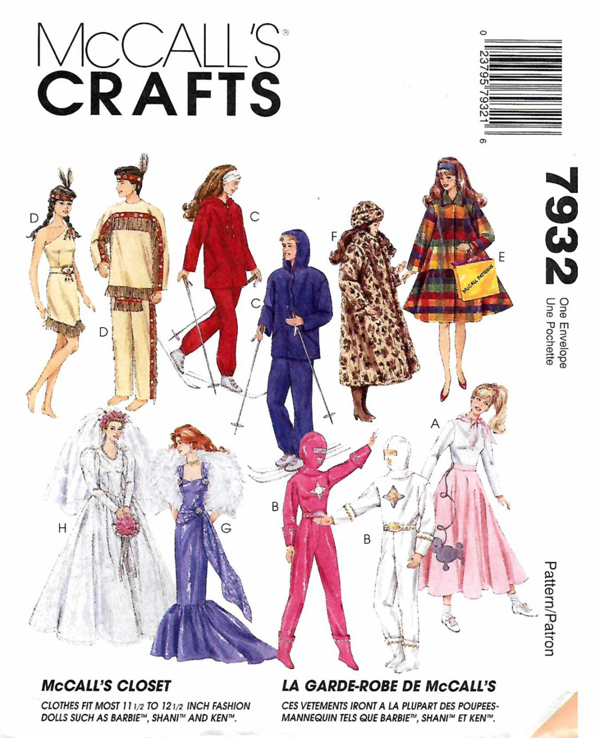 """McCall's Sewing Pattern 7932 Doll Clothes 11 1/2"""" Barbie Ken Dresses Wedding Gown Space Suit"""