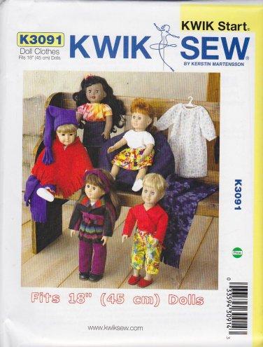 "Kwik Sew Sewing Pattern 3091 Doll Clothes Wardrobe 18"" Dolls"