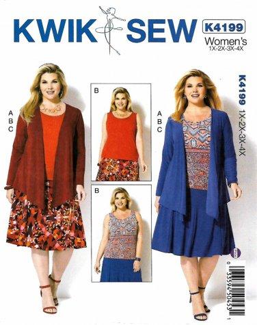 Kwik Sew Sewing Pattern 4199 Womens Plus Size 1X-4X Knit Draped Jacket Tank Top Skirt