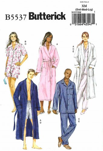 Butterick Sewing Pattern B5537 5537 Mens Misses Sizes S-L Easy Robe Top Shorts Pants Pajamas