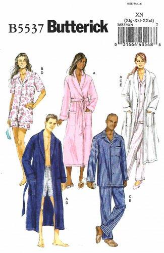 Butterick Sewing Pattern B5537 5537 Mens Misses Sizes XL-XXXL Easy Robe Top Shorts Pants Pajamas