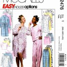 McCall's Sewing Pattern 2476 M2746 Misses Size 8-18 Easy Nightgown Pajama Pants Tops Robes