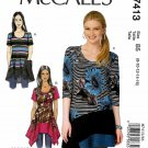 McCall's Sewing Pattern M7413 7413 Misses Size 8-16 Pullover Knit Tops Hem Options