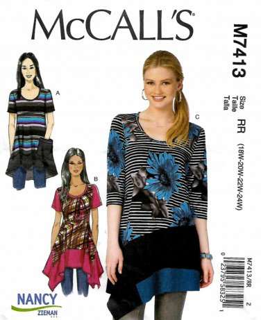 McCall's Sewing Pattern M7413 7413 Womens Plus Sizes 18W-24W Pullover Knit Tops Hem Options