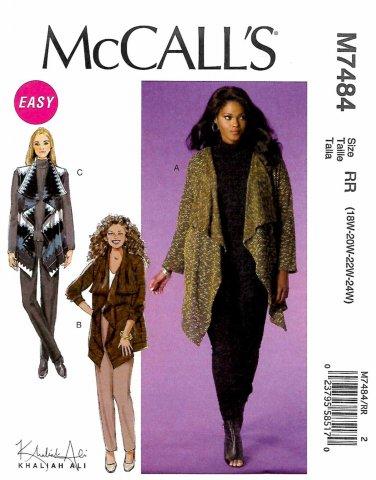 McCall's Sewing Pattern M7484 7484 Womens Plus Size 18W-24W Easy Khaliah Ali Cardigan Vest