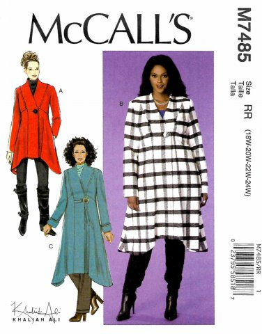McCall's Sewing Pattern M7485 7485 Womens Plus Size 18W-24W Easy Khaliah Ali Coats Length Options