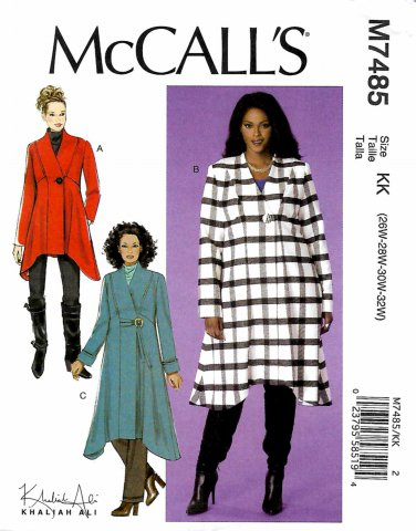 McCall's Sewing Pattern M7485 7485 Womens Plus Size 26W-32W Easy Khaliah Ali Coats Length Options