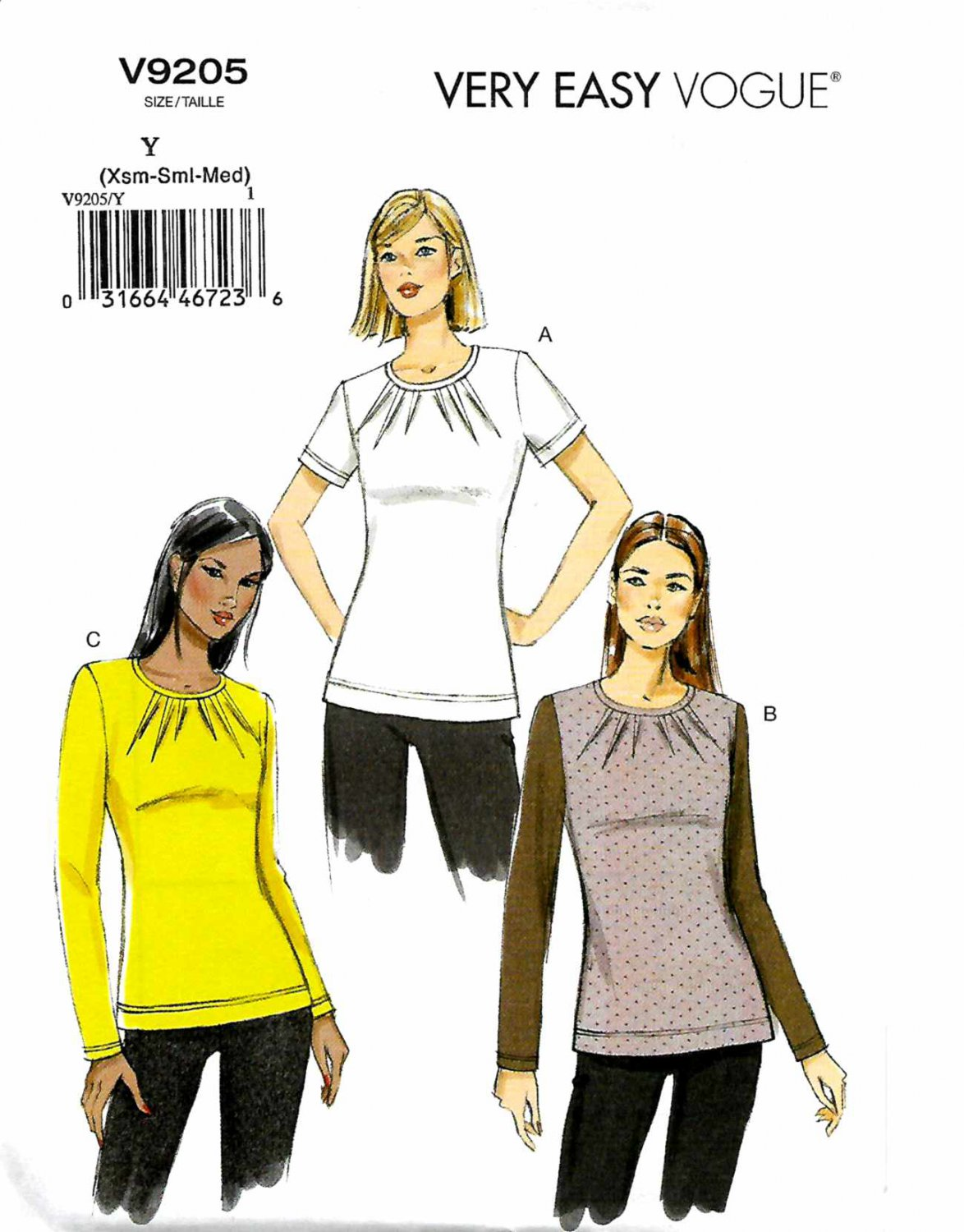 Vogue Sewing Pattern 9205 V9205 Misses Sizes 4-14 Easy Knit Pullover Tops