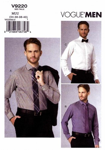 Vogue Sewing Pattern 9220 V9220 Men's Sizes 34-40 Long Sleeve Button Front Shirt