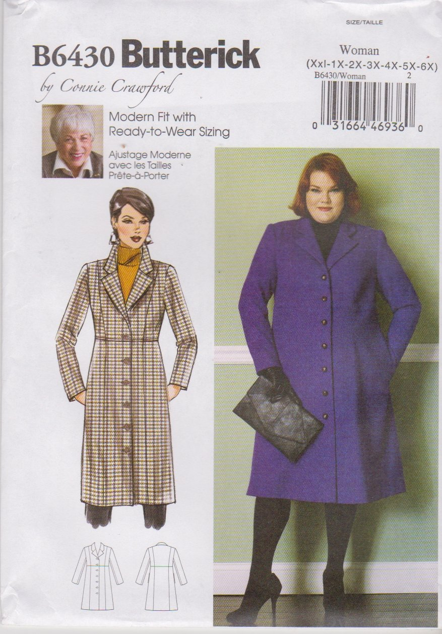 Butterick Sewing Pattern 6430 B6430 Womens Plus Size 18W-44W Connie Crawford Raised Waist Coat