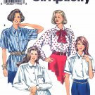 Simplicity Sewing Pattern 8558 Misses Sizes 6-10 Button Front Shirt Tie Sleeve Pocket Options