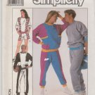 "Simplicity Sewing Pattern 8959 Men's Misses Chest Size 42-44"" Sweatsuit Top Pants Shorts"