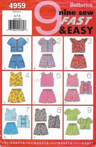 Butterick Sewing Pattern 4959 B4959 Girls Sizes 6-8  Easy Summer Tops Shorts Suntop