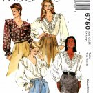 McCall's Sewing Pattern 6750 M6750 Misses Size 20-22 Pullover V-Neck Long Sleeve Blouse