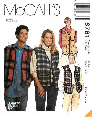 McCall's Sewing Pattern 6761 M6761 Mens Misses Size 42-44 Button Zipper Front Vest
