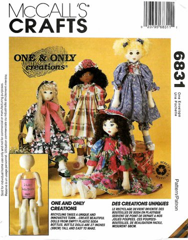 McCall's Sewing Pattern 6831 M6831 Crafts One and Only Bottle Dolls Clothes