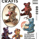 "McCall's Sewing Pattern 6833 M6833 Crafts Stuffed 15"" Bears Acessories"