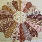 Moonwishes Stash Builders 1 Brown Dresden Plate Printed Quilt Pillow Blocks MWCS#012