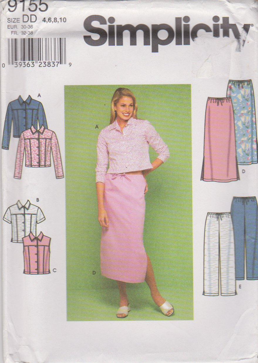 Simplicity Sewing Pattern 9155 Misses Sizes 4-10 Blue Jean Style Jacket Vest Skirt Pants