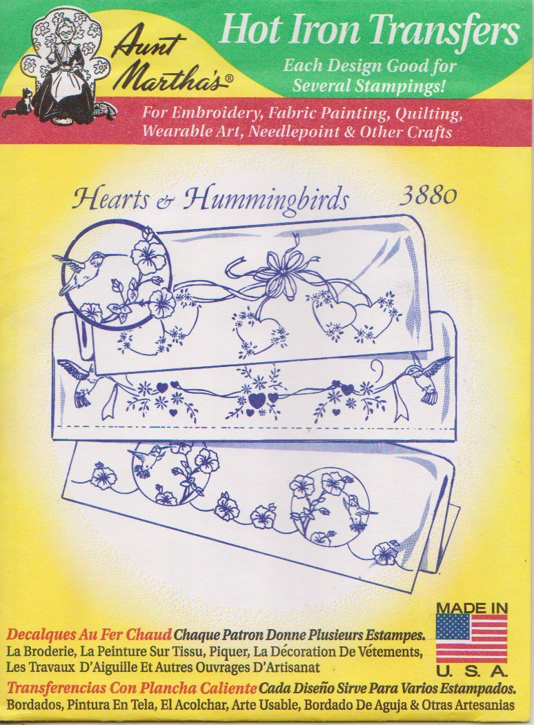 Aunt Martha's Hot Iron Transfers Hearts & Hummingbirds 3880 Embroidery