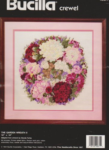 Bucilla Crewel 40871 The Garden Wreath II 14 x 14 Fabric & Instructions ONLY!
