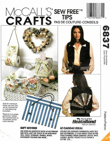 McCall's Sewing Pattern 6837 NO SEW Crafts Gifts Home Decor Fashion Accessories