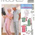 McCall's Sewing Pattern 6107 9123 Misses Mens Chest 42-48 Lab Coat Scrub Uniform Top Pants Dress