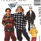 McCall's Sewing Pattern 7378 M7378 Girls Boys Sizes 4-6 Zipper Front Jackets Hoodie