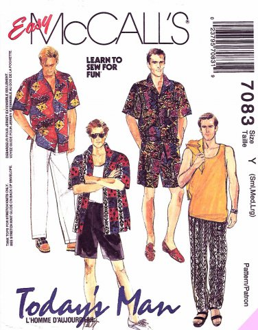 McCall's Sewing Pattern 7083 M7083 Mens Chest 34-44 Shirt Knit Tank Top Pants Shorts