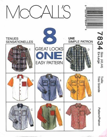 McCall's Sewing Pattern 7834 Misses Mens Chest 42-44 Easy Button Front Long Short Sleeve Shirts